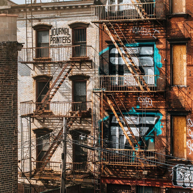 View of some old buildings from the Williamsburg Bridge