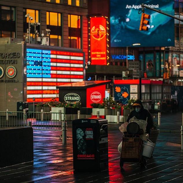 Times Square, on a coldish rainy night, April 2020