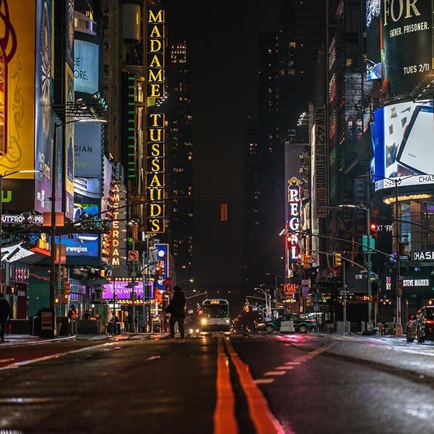 Times Square on a rainy night, April 2020