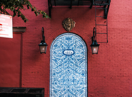 "The ""blue Spanish door"" of Perry Street"