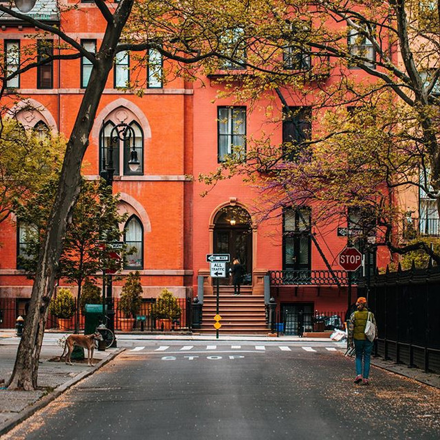 Gorgeous townhouses - Rutherford Place and East 17th Street, Gramercy, Manhattan, New York, May 2020
