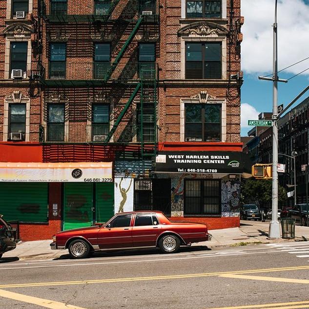 W 134th St corner with Amsterdam Avenue, Manhattan, New York, June 2020