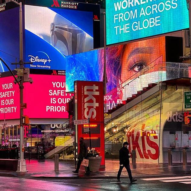 TKTS station, Times Square, April 2020