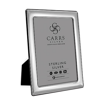Carrs - Plain Sterling Silver Photo Frame With Grey Velvet Back