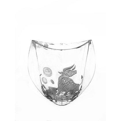 Bohemia Crystal Orbit Vase with Sandblasted Ox Motif