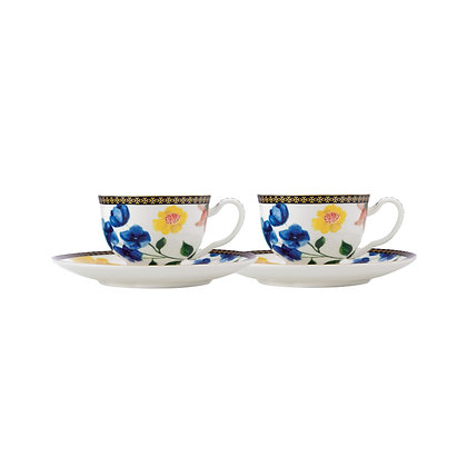 Maxwell & Williams Teas & C's Contessa Demi Cup & Saucer 85ML Set of 2 White