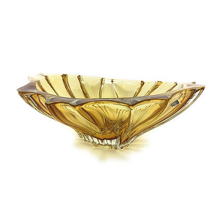 Bohemia Crystal Plantica Amber Bowl 22cm