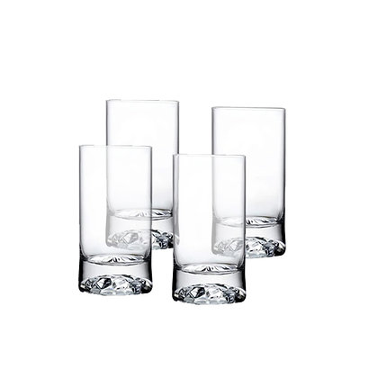 Nude Club Set of 4 High Ball Glasses Small with Ripple Effect