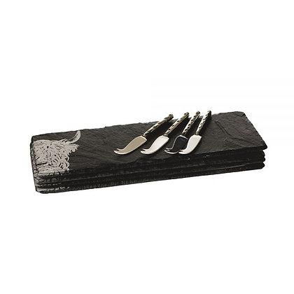 Just Slate 4 Mini Highland Cow Cheese Board & Knife Set