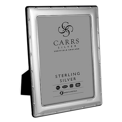 """Carrs - Reed & Ribbon Sterling Silver Photo Frame With Grey Velvet (10"""" x 8"""")"""