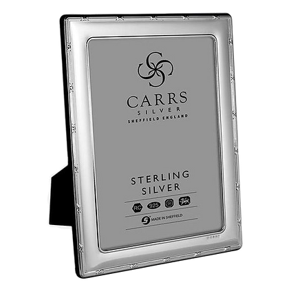 Carrs - Reed & Ribbon Sterling Silver Photo Frame With Grey Velvet Back