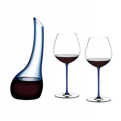 Riedel Cornetto Confetti Decanter Blue + Fatto A Mano Pinot Noir Dark Blue x2