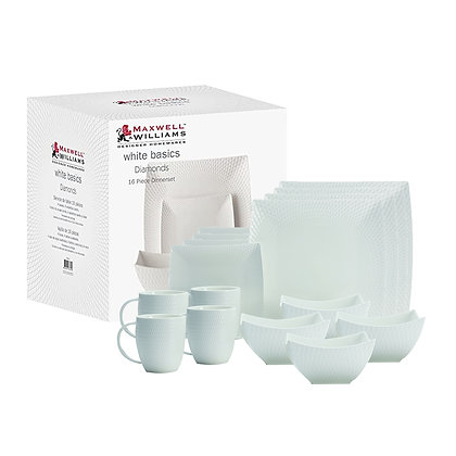 Maxwell & Williams White Basics Diamonds Square Dinner Set 16 Piece Gift Boxed