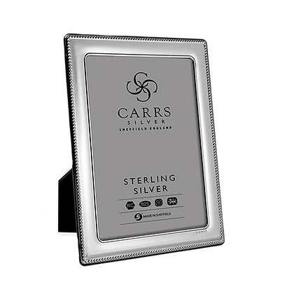 "Carrs - Silver Photo Frame - Bead Design With Grey Velvet Back (6"" x 4"")"