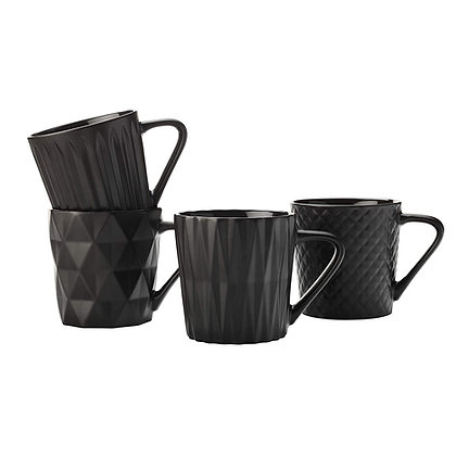 Maxwell & Williams Cosmos Mug Set of 4 400ML Matte Black Gift Boxed