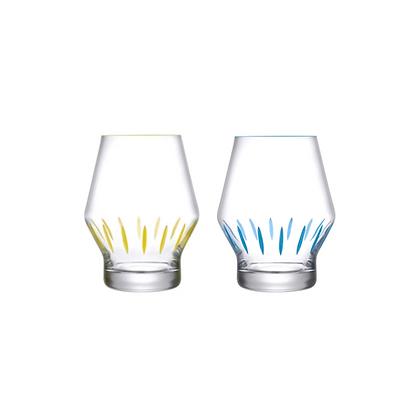 Nude Beak Set of 2 Glasses Iris Apfel Collection (Yellow & Blue Painted)