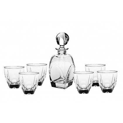 Bohemia Crystal Fjord Whisky Set (1 Decanter + 6 Tumblers)