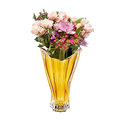 Bohemia Crystal Plantica Amber Vase 32cm