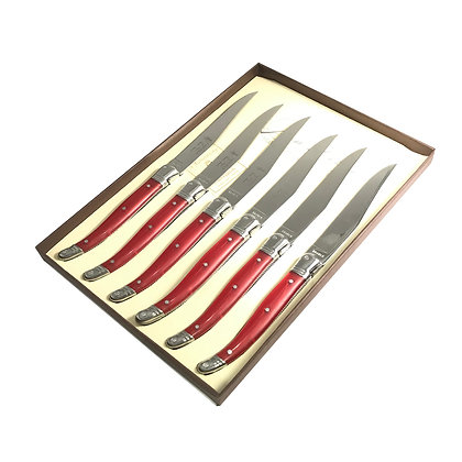 Laguiole Table knife 25/10 Red Handle Set of 6 with COFFRET Luxury Gift Box