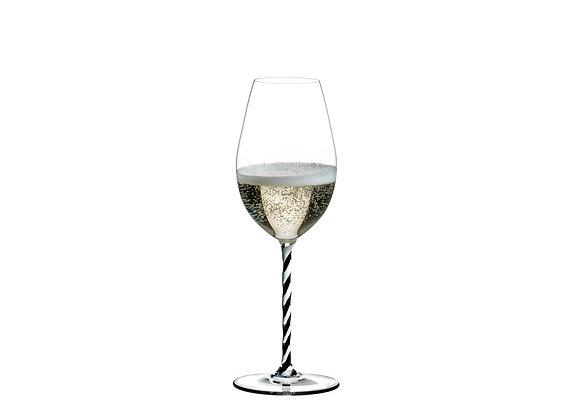 Riedel Fatto A Mano Champagne Wine Glass Black And White Twisted