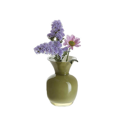 Dartington Olive & White Vase 10.5cm