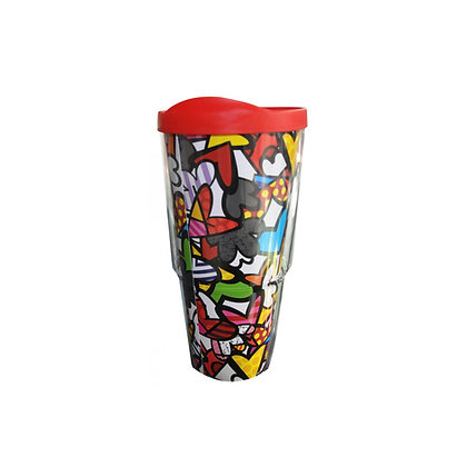 Britto Acrylic Tumbler Dbl. Wall 600ml Hearts Pattern