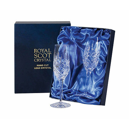 Royal Scot London Pair of Flute Champagnes with Blue Gift Box