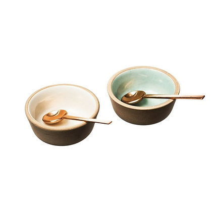 Just Slate Stoneware & Copper Spoon Condiment Set