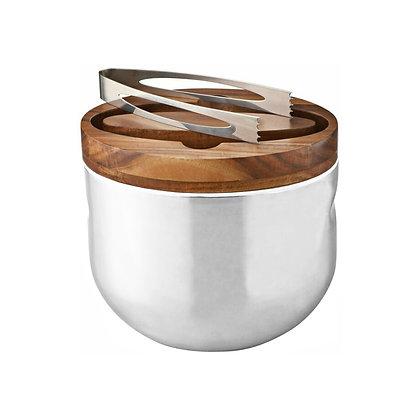 Nambe Mikko Ice Bucket wit Tongs (Wood/Stainless Steel)