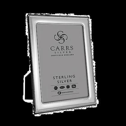 Carrs - Silver Photo Frame - Bead Design With Grey Velvet Back