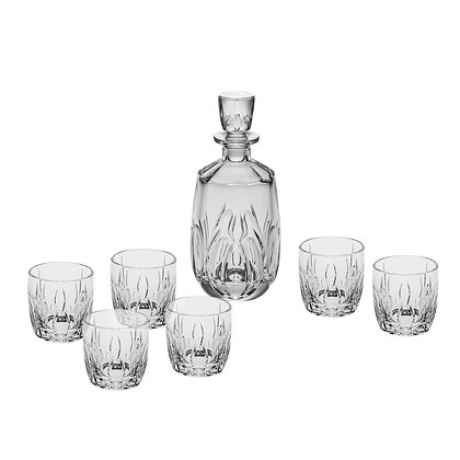 Bohemia Crystal Fire Whisky Set (1 Decanter + 6 Tumblers)