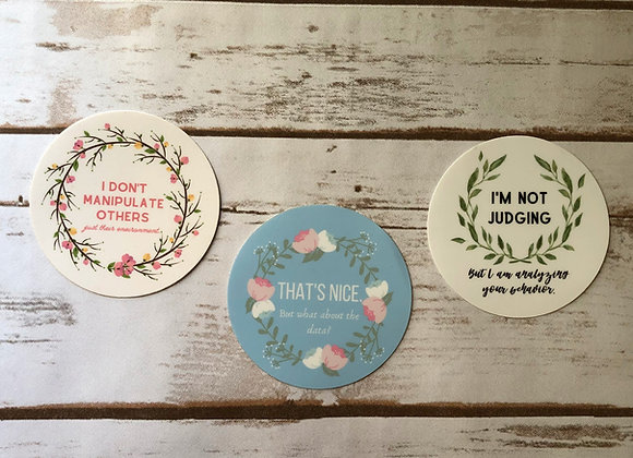 Sarcastically Sweet Stickers Bundle, set of 3