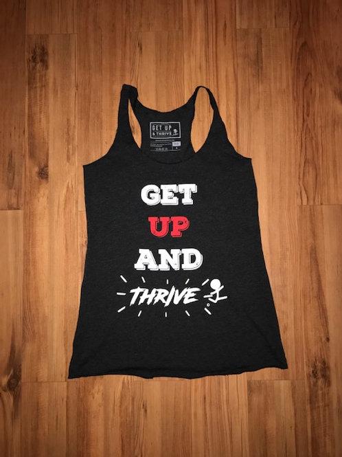 Get Up & Thrive Razor Back Tank in Black