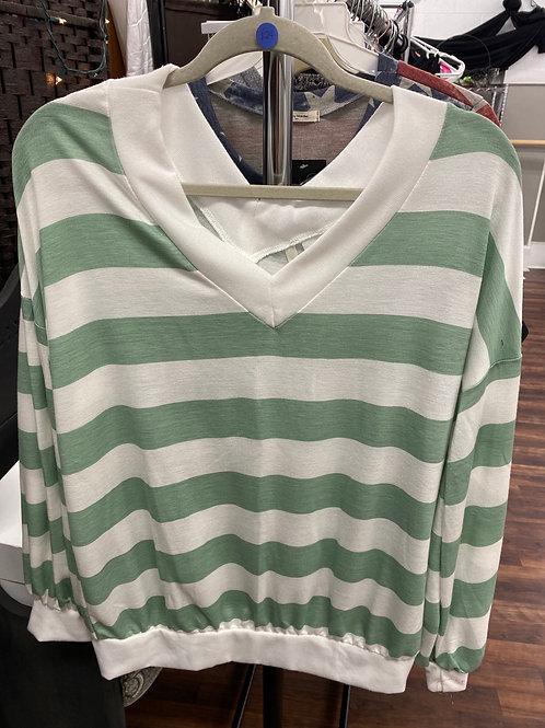 Green Striped Long Sleeve Shirt