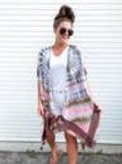 Tie Dye Tassel Kimono