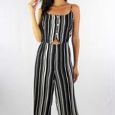 Strappy Black Striped Jumpsuit with Button Detail