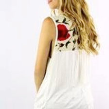 Sleeveless Top with Floral Detail
