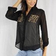 Long Sleeve Sheer Collard Leopard Top