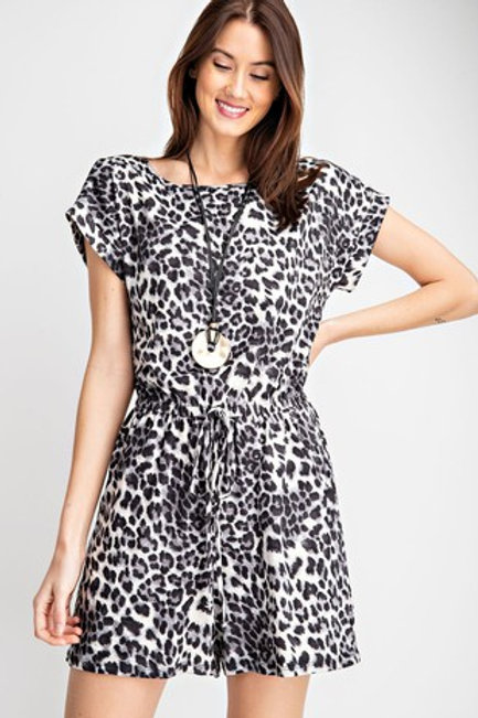 nimal Printed Romper with Buttoned Keyhole Back Drawstring and Side Pockets