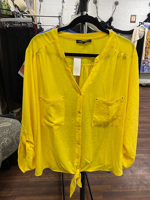 Yellow Button Up/Tie Front Shirt