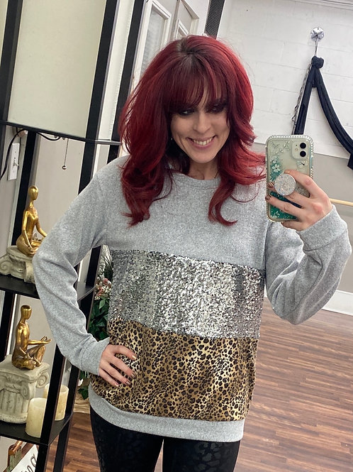 Sweater with Sequins/Leopard Print