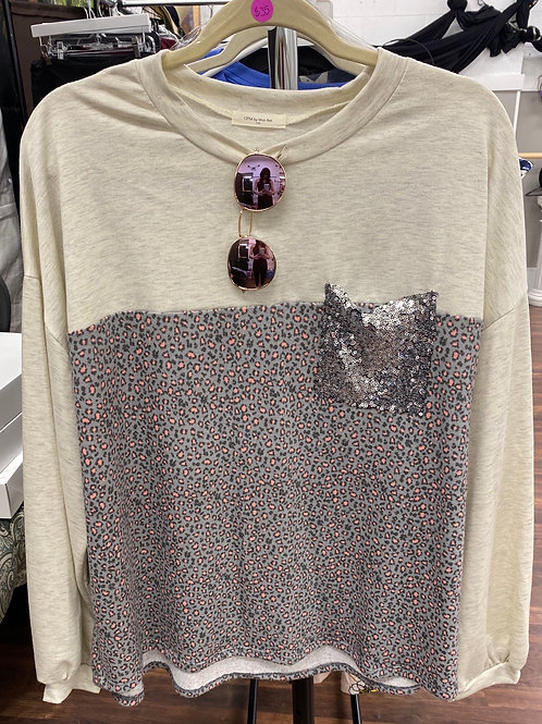 Leopard Print/Sequin Pocket Shirt