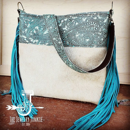 Tejas Leather Bucket Hide Handbag with Turquoise Paisley Accent