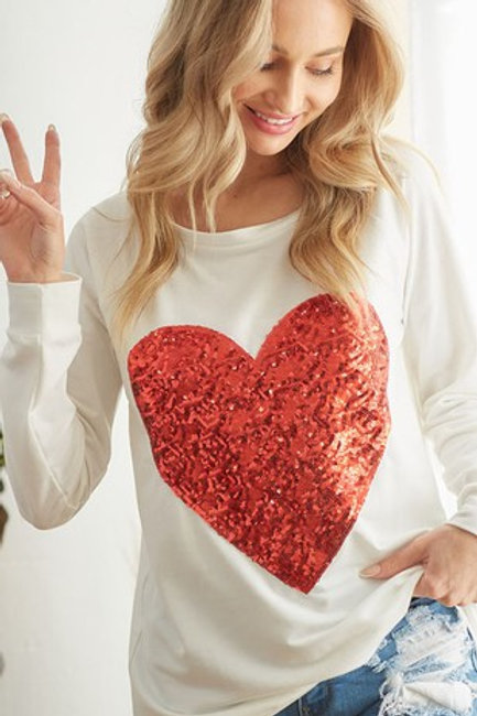 FRENCH TERRY WIDE NECK TOP WITH BIG SEQUINS HEART PATCH