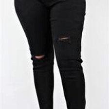 Women's Plus Size Black Ripped Jeans