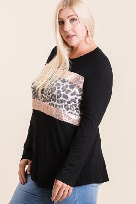 Black Long sleeve Shirt W/leopard sequin