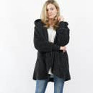 Hooded Cocoon Faux-Fur Jacket w/ Button Brooch