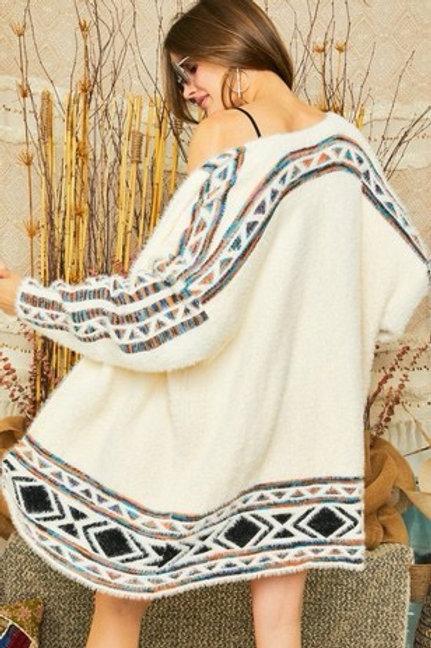 Aztec fuzzy sweater Cardigan