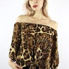 Off the ShoulderAnimal Print Top with Front Knot