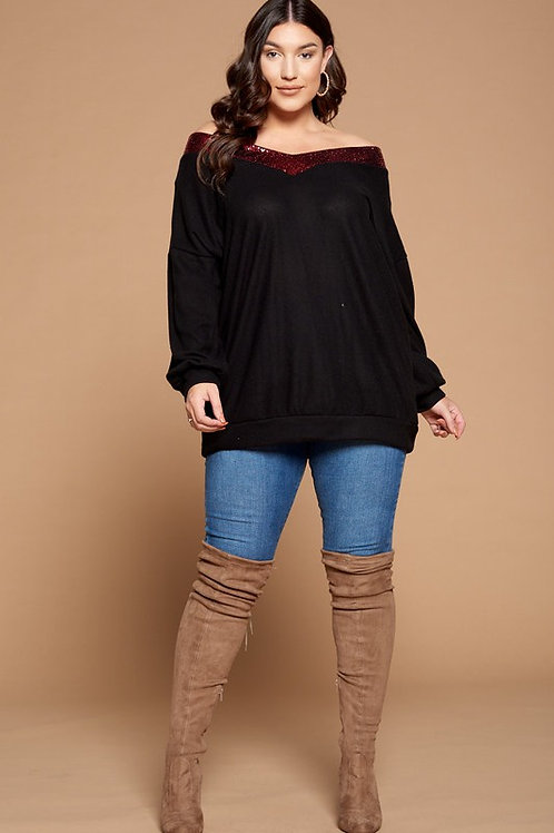 Black Long Sleeve W/Red Sequin trim